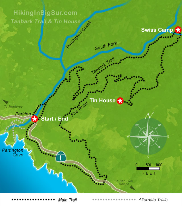 Hiking in Big Sur - Tanbark Trail & Tin House Map .:.